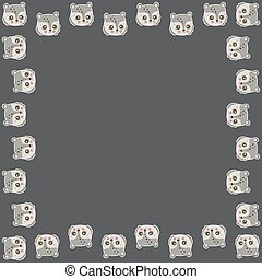 Square frame of cartoon cute teddy bear faces with ruddy cheeks and white outline like stickers on a dark brown background. For greeting card, invitation, print, banner . Kawaii characters. Vector.