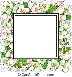 Square frame of cherry blossom branches