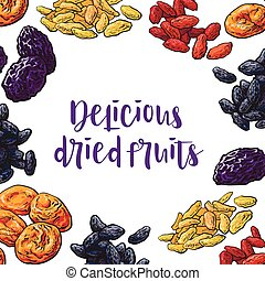 Square frame of dried fruits with round place for text