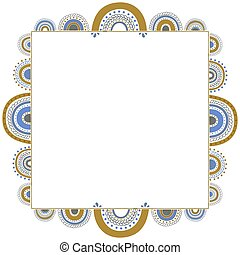 Square frame of elegant abstract rainbows in blue, golden yellow and gray colors on a white background. Trendy isolated border with place for text for card, invitation, poster. Vector.
