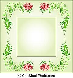 Square frame of floral motive