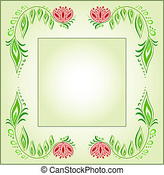 Square frame of floral motive