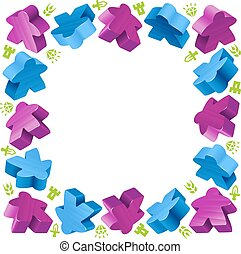 Square frame of meeples