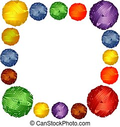 Square Frame of multi-colored wool balls