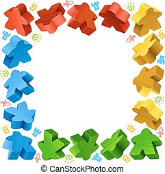 Square frame of multicolored meeples