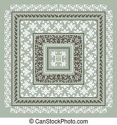 Square frame set template. Bandana with vintage ornament