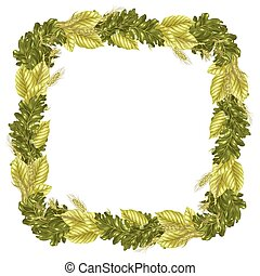 Square frame vector pattern with leaves and rye