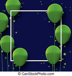 Square frame with bright green balloons.