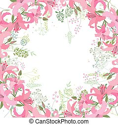 Square frame with contour lilies and herbs on white