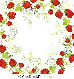 Square frame with contour strawberries and herbs on white
