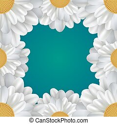 Square frame with daisies and a place for text. Vector element f