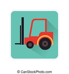 square frame with forklift truck with forks