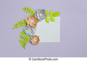 Square frame with grey brown color paper flowers on pastel violet blue background. Flat lay, copy space