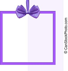 Square frame with realistic purple silk bow on white.
