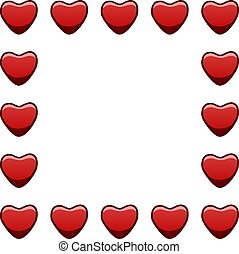 Square frame with red hearts on white background