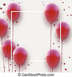 Square frame with red matt balloons on white background. Stars confetti. Space for text. Vector festive illustration.