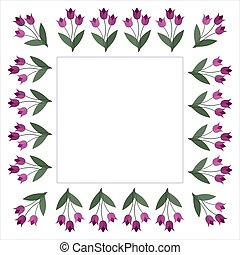 Square frame with tulip flowers on a white background. Vector image for your design, greeting cards, save the date