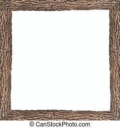 Square frame with wooden bark texture