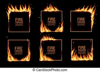 Square frames in fire, vector burning borders. Realistic burn flame tongues with flying particles and embers on rectangular frame edges. 3d flare. Burned hoops or holes in fire, isolated borders set