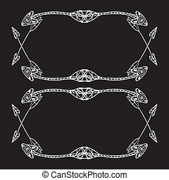 Square frames of ethnic arrows. Hand-drawn white arrows on the black background. There is a place for your text in the center. Chalkboard imitation. Vector illustration.