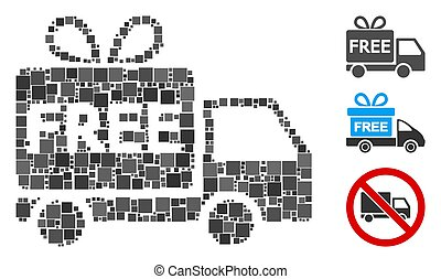 Square Free Delivery Icon Vector Collage