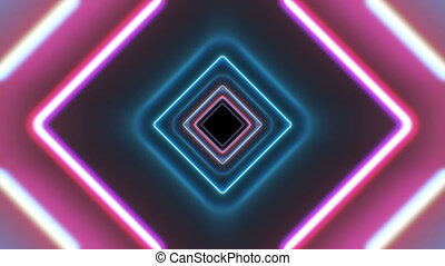 Square Futuristic Glowing Tunnel with Neon Light Lines...