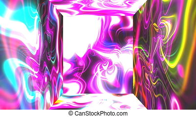 Square futuristic room with abstract glow energy visual...