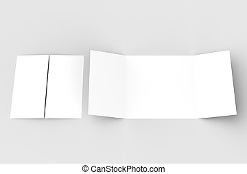 Bifold square brochure mock up on wooden background  3d