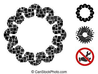 Square Gear Icon Vector Collage