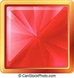 Square gemstone icon, cartoon style