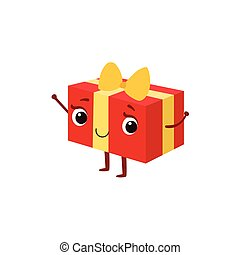 Square Gift Box With Yellow Bow Kids Birthday Party Happy Smiling Animated Object Cartoon Girly Character Festive Illustration