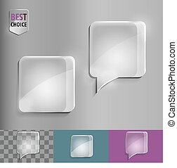 Square glass speech bubble icons with soft shadow on gradient background . Vector illustration EPS 10 for web.