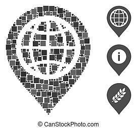 Square Globe Map Marker Icon Vector Mosaic