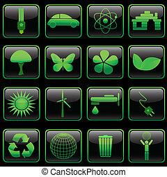 Square glossy eco button set, eps8