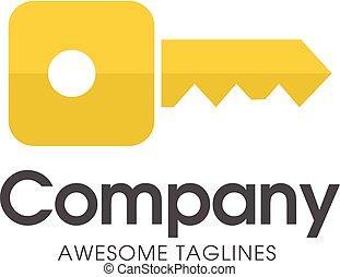 square gold key logo - creative square key logo with modern ...