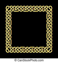 Square golden celtic knots vector frame
