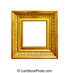 Square golden frame isolated on white background