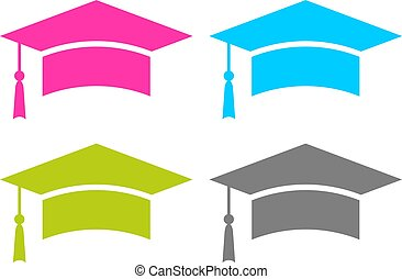 Square graduation cap vector icon
