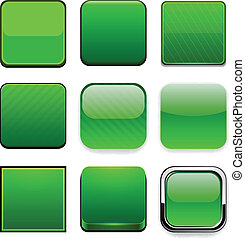 Square green app icons. - Set of blank green square buttons...