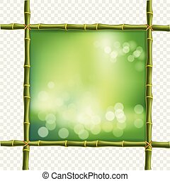 square green bamboo stems border frame with bokeh background