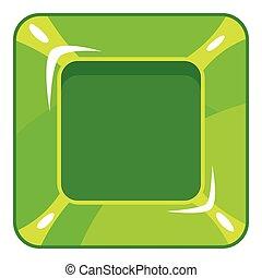Square green button icon, cartoon style