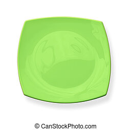 Square green plate isolated on white background