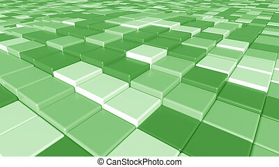 Square green tiles background, 3D rendering