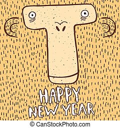 Happy New Year with funny monkey
