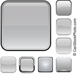 Square grey app icons. - Set of blank grey square buttons ...