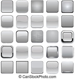 Square grey app icons. - .Set of blank grey square buttons ...