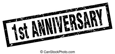 square grunge black 1st anniversary stamp