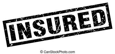 square grunge black insured stamp