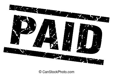 square grunge black paid stamp