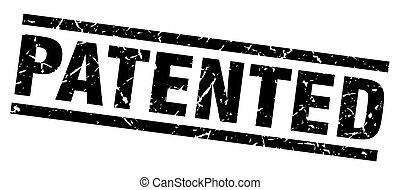 square grunge black patented stamp